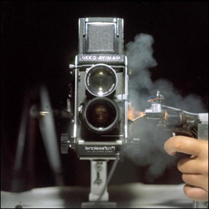 Steven Pippin - Mamiya 330 twin lens reflex shot with.25 calibre (self portrait) - 2010